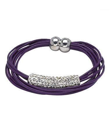 Loving this Purple Leather Layered Bracelet With Swarovski® Crystals on #zulily! #zulilyfinds
