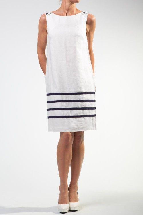 White Corrine Linen Shift Dress