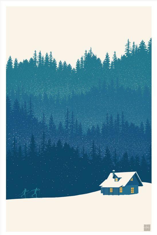 Retro Minimalist Nordic Ski Illustration Landscape Poster