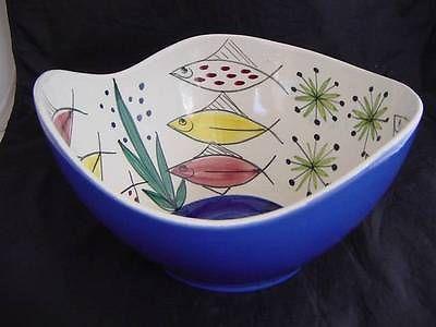 RARE 1950's STAVANGERFLINT NORWAY 'Fish' Bowl INGER WAAGE Handpainted