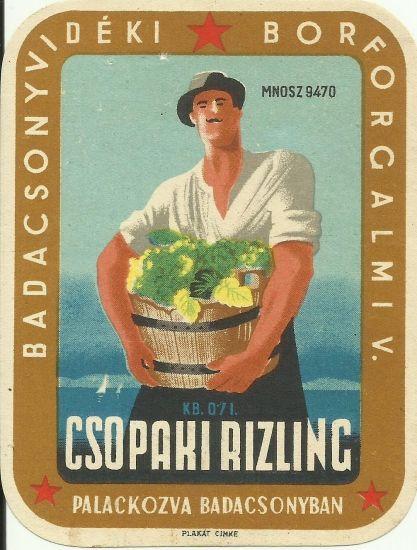 vintage wine label hungary 1950s balaton csopak