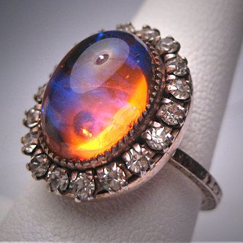 Antique Dragons Breath Opal Paste Ring Art Deco Silver