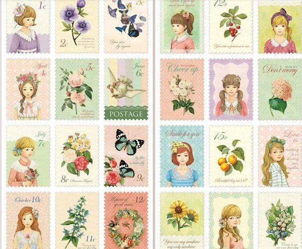 Stickervel Vintage Postzegel