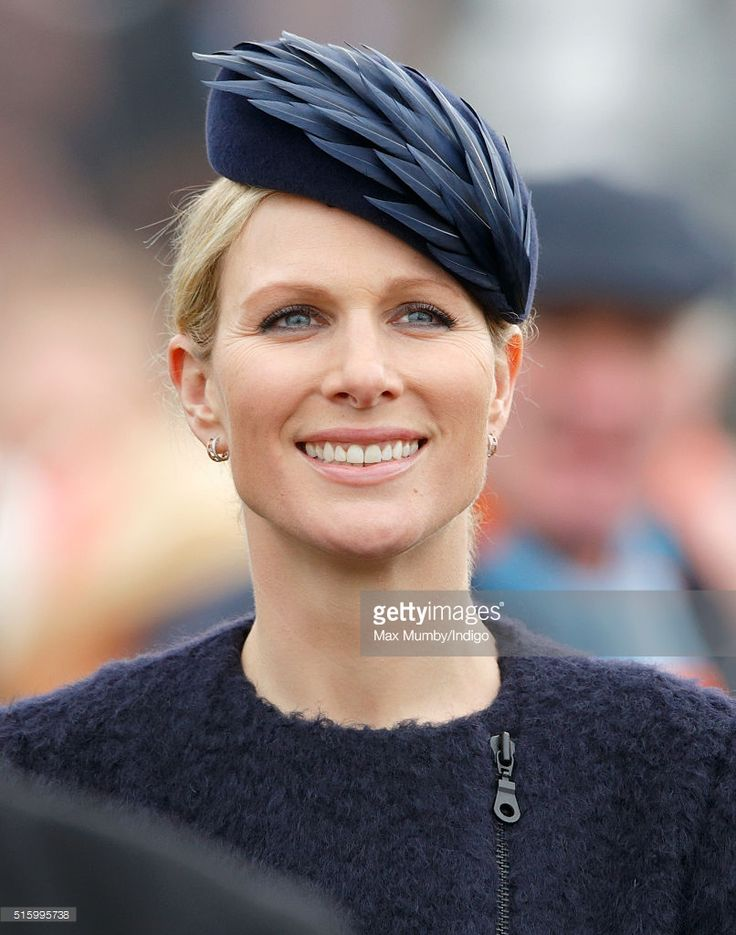 This hat is fabulous! Designer: Rosie Olivia. Zara Phillips at the Cheltenham Festival on March 16, 2016 in Cheltenham, England.