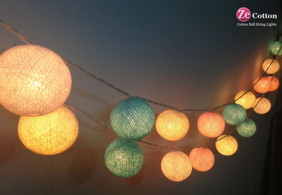 Pastel Night : 20 mixed 4 Pastel Color Cotton Ball String Lights Fairy lights Party  Decor Wedding Garden Spa and Holiday Lighting