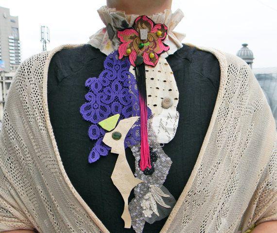 Textile art jabot Big bold chunky collar necklace by Elyseeart
