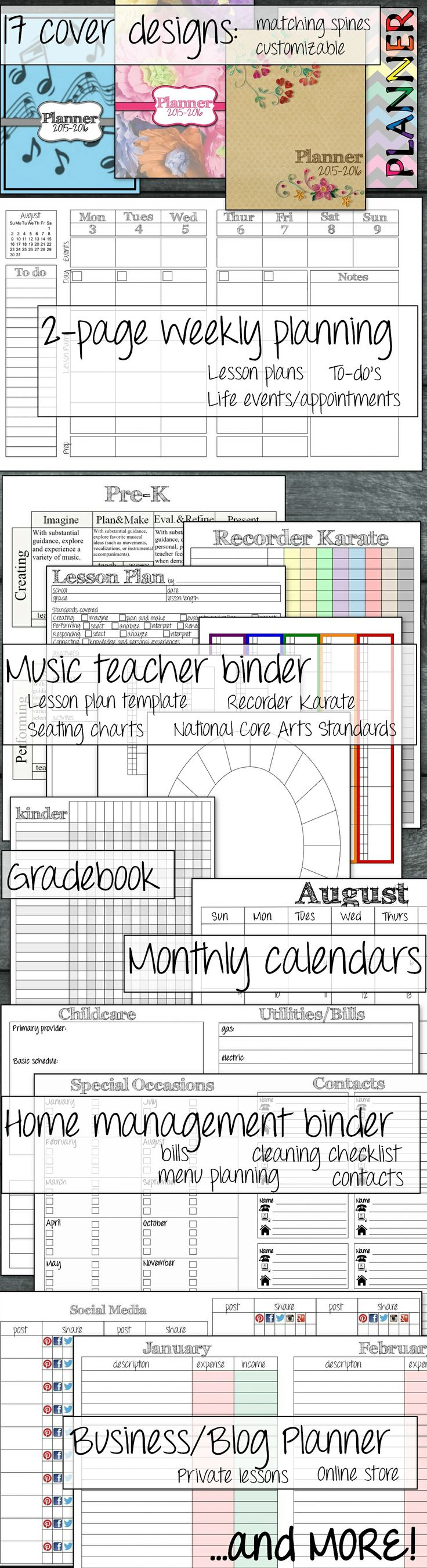 Music Teacher Entire Life Planner and Organization Binder: five lesson blocks edition. This thing is awesome! 5 lesson blocks (big enough to split) for each day with dates pre-filled for the 2015-16 school year, and it comes with organizing pages for home, business (like private lessons, TPT, or other extra income), and the music classroom (including concerts, recorder karate, IEP's, inventory, national standards, seating charts, and more!