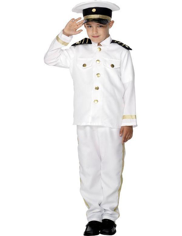 Child Ship Captain Uniform Sailor Sea Marine Nautical Fancy Dress Costume Boys