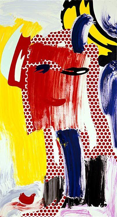 Roy Lichtenstein >> Cara (Red) (1986)  |  (oleo, obra de arte, reproducción, copia, pintura).