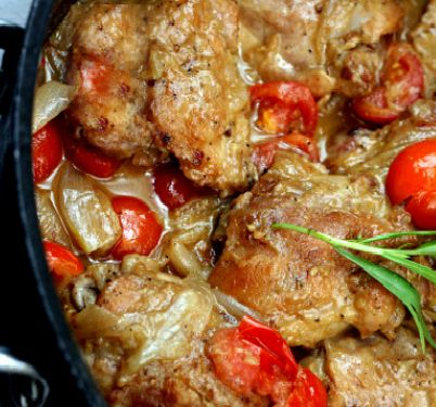 Braised Garlic Honey Chicken Thighs with Shallots and Cherry Tomatoes.  Brings everyone to their knees!