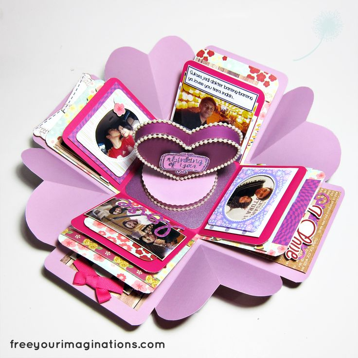 This is the Inside View of VALENTINE GIFT for girlfriend with Purple ChicDesign Theme Featuring Rotational 3D Love in the middle