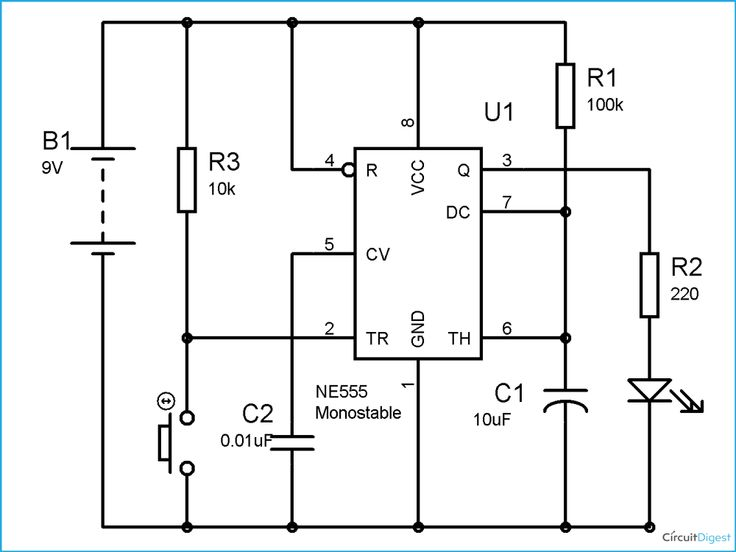 Simple Time Delay Circuit Diagram using 555 Timer