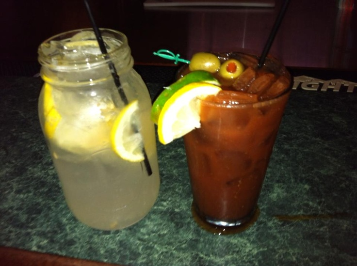 Memphis on Main's Bloody Mary notes: garnished with two olives, slice ...