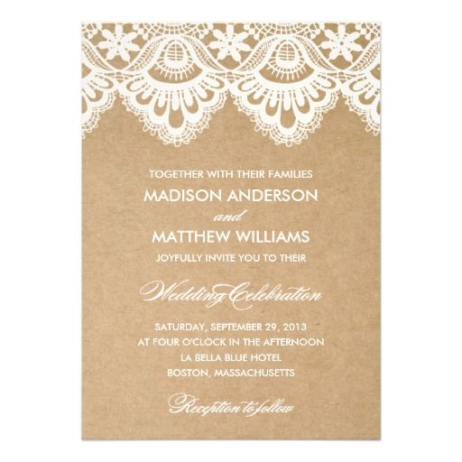 rustic lace wedding invitation vintage - Vintage Wedding Shower Invitations