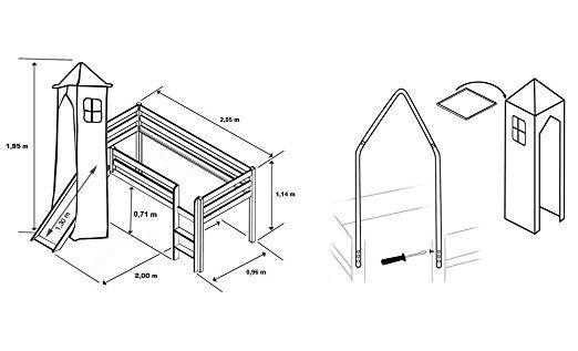 Cama alta de niños cama de juego con torre y tobogán pino maciza blanco - Azul claro - SHB/27/1032: Amazon.es: Hogar