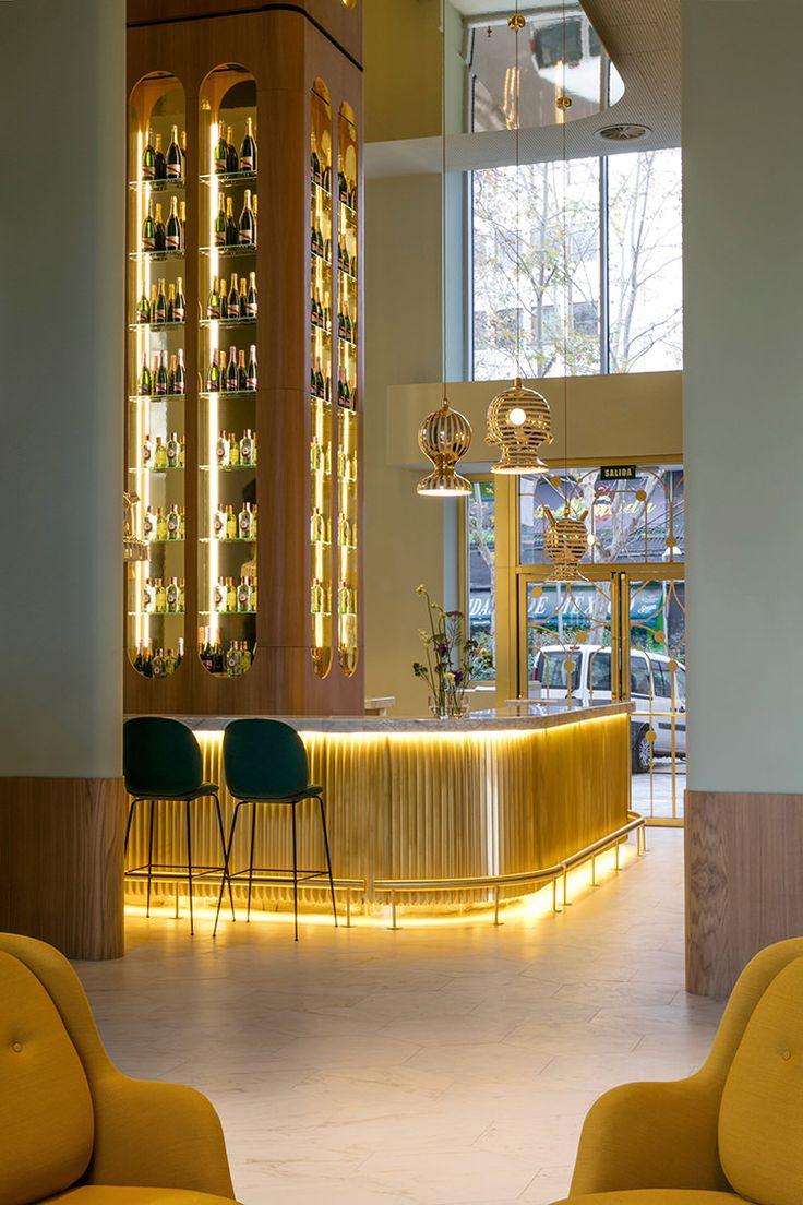 In/Out: Jaime Hayon for Barceló Torre de Madrid hotel | bar design | brass | back bar display