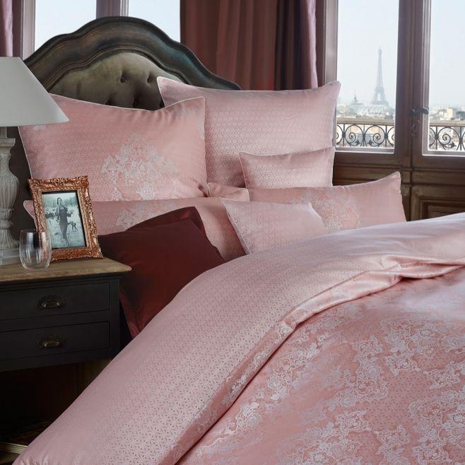 Розовое постельное белье Curt Bauer JULIETTE (1043), двуспальное с жаккардовым плетением