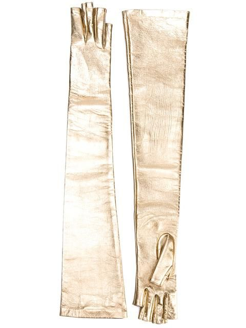 Shop Gucci long metallic gloves.
