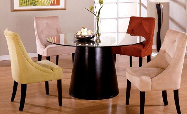Dining Room Multicolored Chairs A Burst Of Colors From 20 Dining Sets With Multi Colored Glass Round Dining Table Round Dining Room Sets Glass Dining Table Set