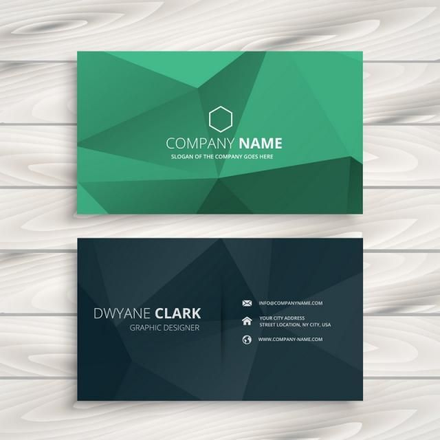 Clean Low Poly Business Card Template Vector Design Illustration Art Business Cards Free Business Card Templates Business Card Template