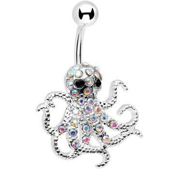 $11.99 #piercing #bellyring Aurora Gem Encrusted Floating #Octopus Belly Button Ring