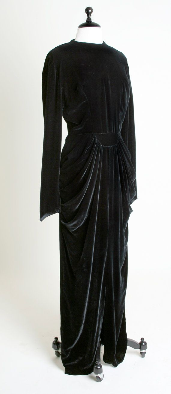 1930s Velvet Gown - Vintage Dramatic Draped Old Hollywood Glamour Dress - Medium