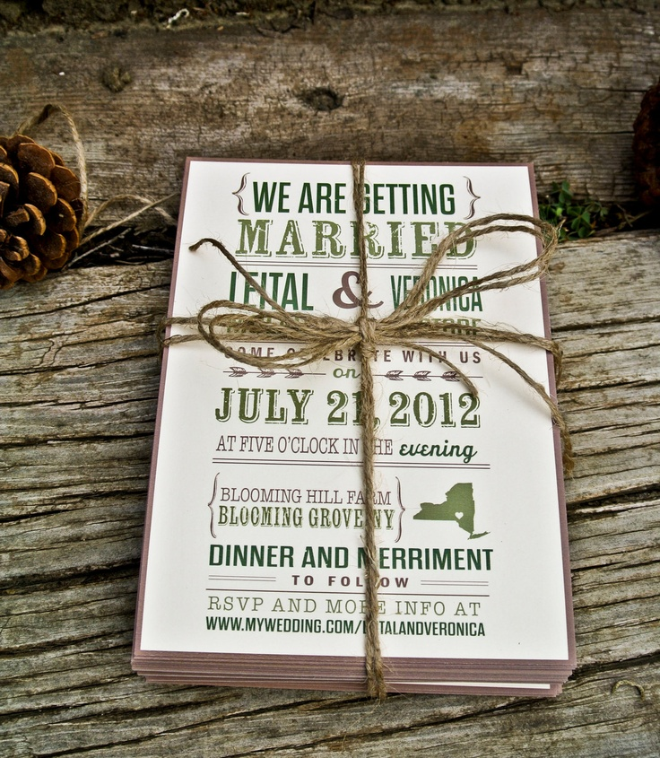 Wedding Invitation : Rustic and Modern State. $2.00, via Etsy.
