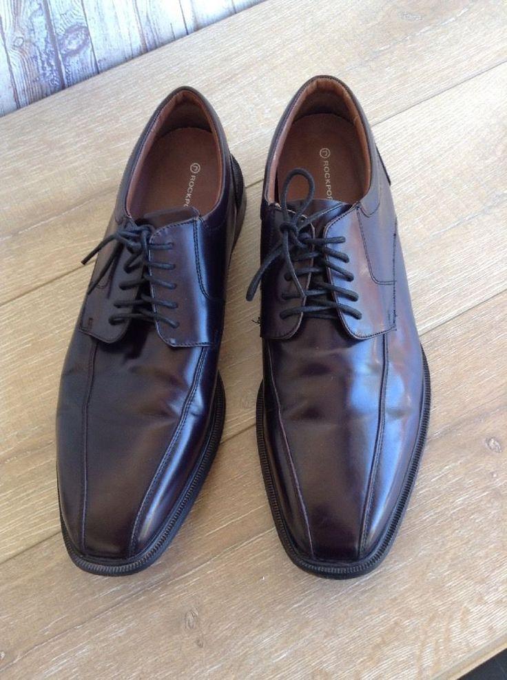 Rockport Adiprene Leather Black Oxfords Lace Up Shoes Size 15 K62536 EUC