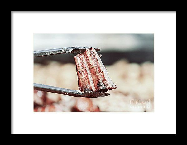 Preparing Steaks On Barbecue Day Framed Print