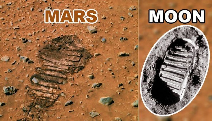 "FOOTPRINT DISCOVERED ON MARS? The official explanation is given in a NASA caption stating that ""soil disturbed by the left front wheel of the Spirit rover evokes impressions of the first footprint on Mars."" Source: https://www.nasa.gov/externalflash/Mars_as_art/hi-resjpgs/44.jpg   Related Comments comments"