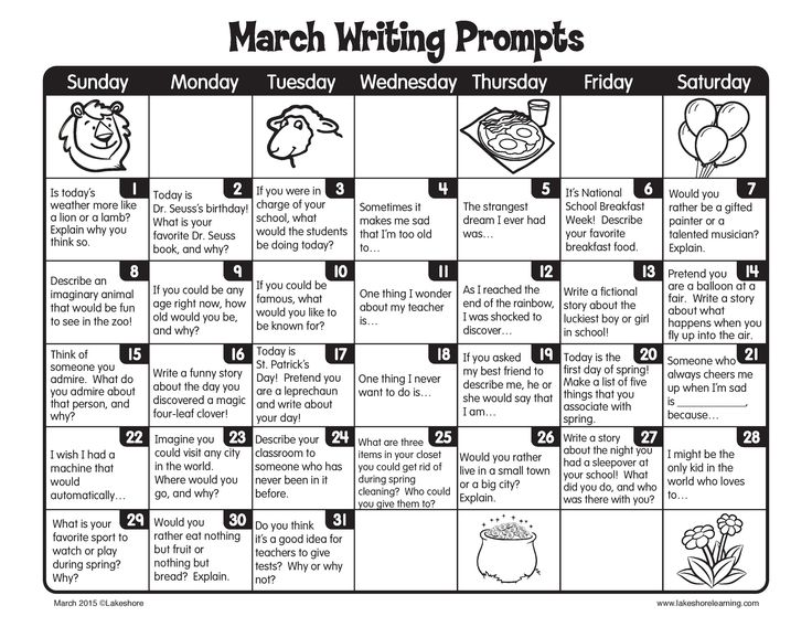 """March"" into spring with a new writing prompt for every day of the month!"