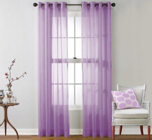 hlc me 2 piece sheer window curtain grommet panels lilac measurements 54 inch width x 84. Black Bedroom Furniture Sets. Home Design Ideas