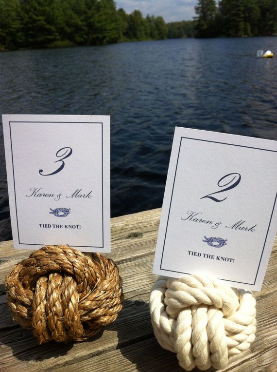 Nautical Wedding - 5-8 Nautical Rope Table Number Holders (3 turns) - smaller knots