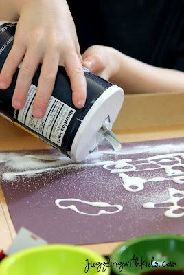 Draw a picture with glue, sprinkle salt, dip a paintbrush in water and food coloring and touch it to the salt...kids will be mesmerized.