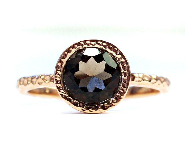 Vergoldete Ringe - RAUCHQUARZ RING ღ - Rosévergoldet,Gr.50+53, - ein Designerstück von STEINREICH-UND-SCHOEN bei DaWanda