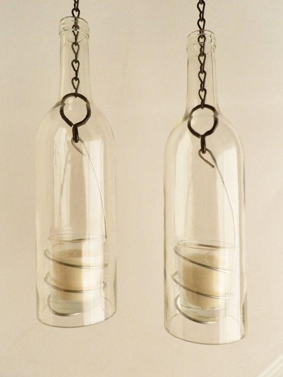 Wine Bottle Candle Holder Hanging Hurricane Lanterns by BoMoLuTra