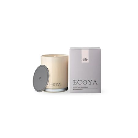 Ecoya Candle – Coconut and Elderflower. 400gm soy wax candle in madison jar  White coconut and caramel are combined with elderflower and immersed in a rich background of lime, bergamot, lemon and pineapple to create a warm, refreshing fruit cocktail.