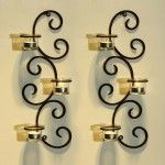 Living Room Light Fixture – Wall Candle Holder – Adeco Trading Iron Sconce, Auspicious Clouds Scrolls