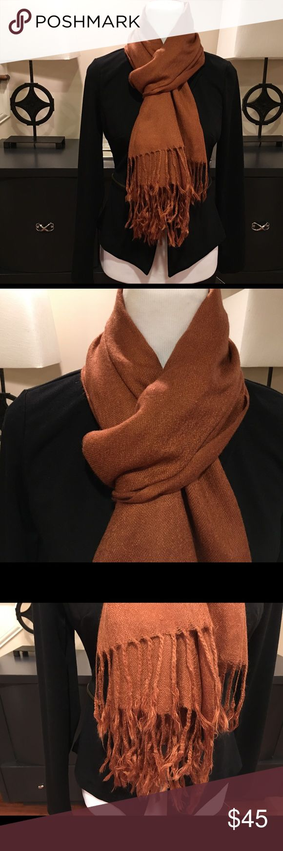 Pashmina Scarf Up for sale is a Unisex Pashmina Scarf.  This burnt orange Scarf has never been worn, made of a Cashmere Blend & is a classy accent to any outfit, coat, or tee. The addition of the Seta adds a nice sheen to your pashmina. It's luxurious and warm and still lightweight Pashmina Accessories Scarves & Wraps