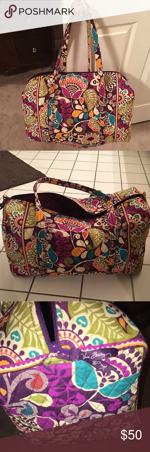 Vera Bradley Large Duffel in Plum Crazy Vera Bradley Large Duffel in Plum Crazy, used twice, great condition! Feel free to ask any questions you may have and please make offers through the offer button ;) Vera Bradley Bags Travel Bags
