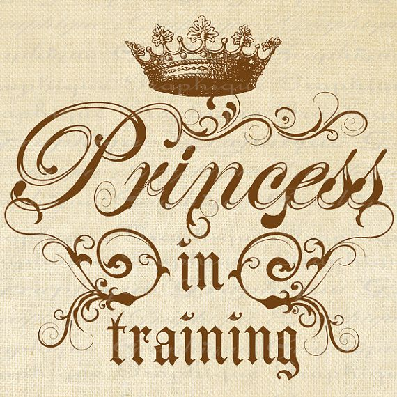 Princess in Training Crown Text Words Digital Image Download Transfer To Pillows Tote Tea Towels Burlap No. 2617 SEPIA
