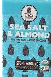 A box of 12 discs of Taza Chocolate Salted Almond.