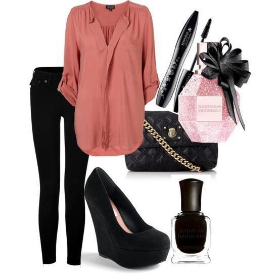 Casual, peach blouse, black jeans, black wedges- I need a pair of these shoes!