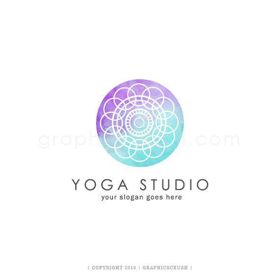 Watercolor Mandala Logo - Yoga Logo Design - Logo Design - Wellness Logo…