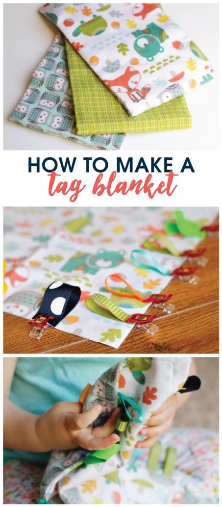 Learn how to make a tag blanket in less than 15 minutes. It's a perfect DIY baby shower gift!