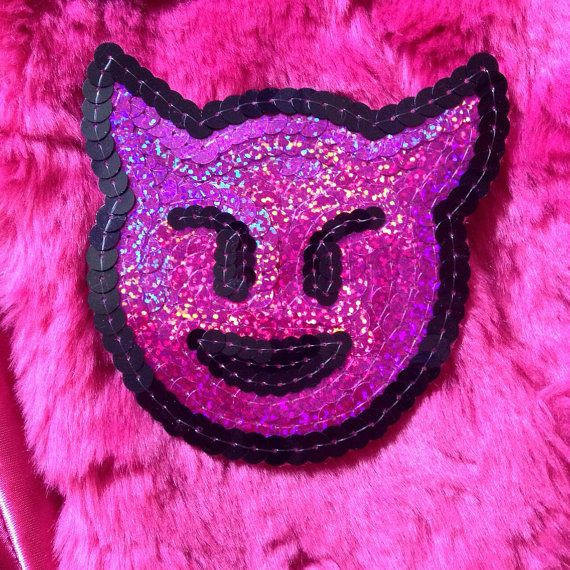 #Emoji #kawaii #sequin #patches for #custom #denim by #KingSophiesWorld #devil