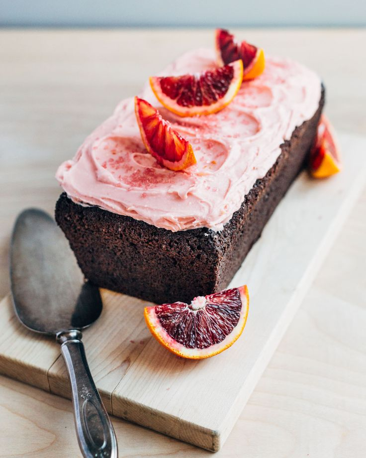 Chocolate beet cake with a silky chocolate and olive oil crumb and pretty pink cream cheese frosting dyed naturally with blood orange juice and beets.