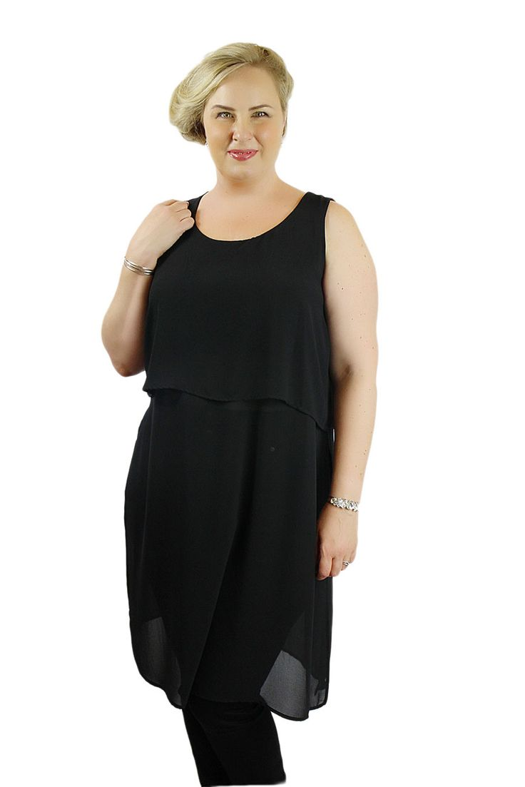 This plus size black layered tunic made from a chiffon fabric with a rounded neckline and side slits. Tunic can be easily paired with your favorite jeans or leggings for a casual day out or with dress pants for a dressy look for the office or a party.  Layer it up with statement jewellery to t