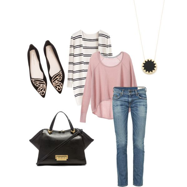 A fashion look from September 2015 featuring Victoria's Secret sweaters, rag & bone jeans and Sophia Webster flats. Browse and shop related looks.