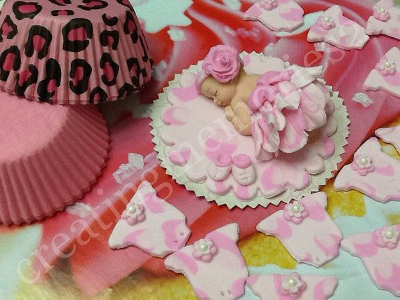 FONDANT BABY SET - cake topper one baby with cheetah outfit. Brown, tan and hot pink, and onesie cupcake toppers